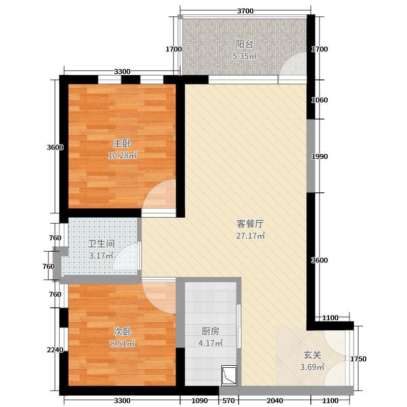 实力心城80.40㎡公寓A1户型2室2厅1卫1厨