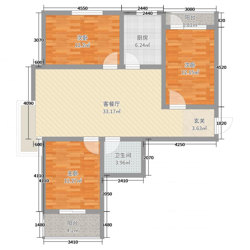 儒林雅居107.36㎡3号楼标准层J户型3室3厅1卫1厨
