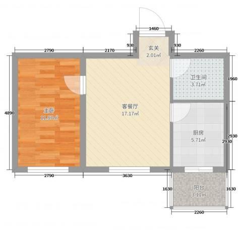 曙光新城1室2厅1卫1厨53.00㎡户型图