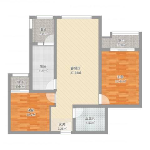 金竹首府2室2厅1卫1厨87.00㎡户型图