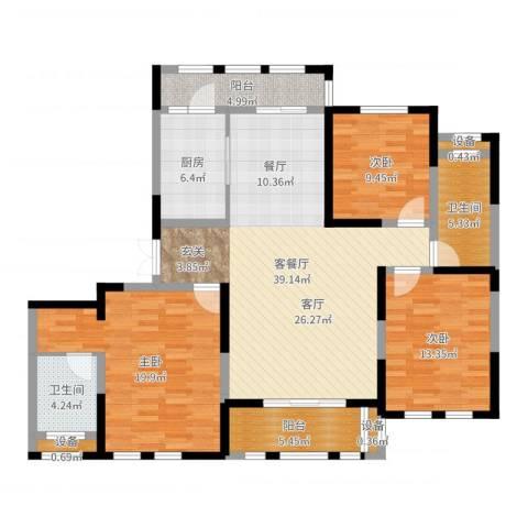 保亿・风景御园3室2厅2卫1厨137.00㎡户型图