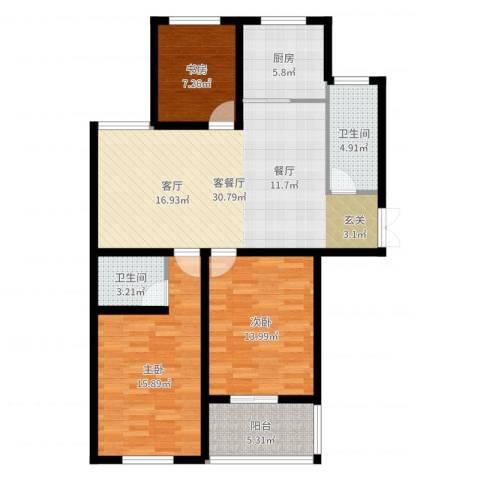 新河湾3室2厅2卫1厨109.00㎡户型图