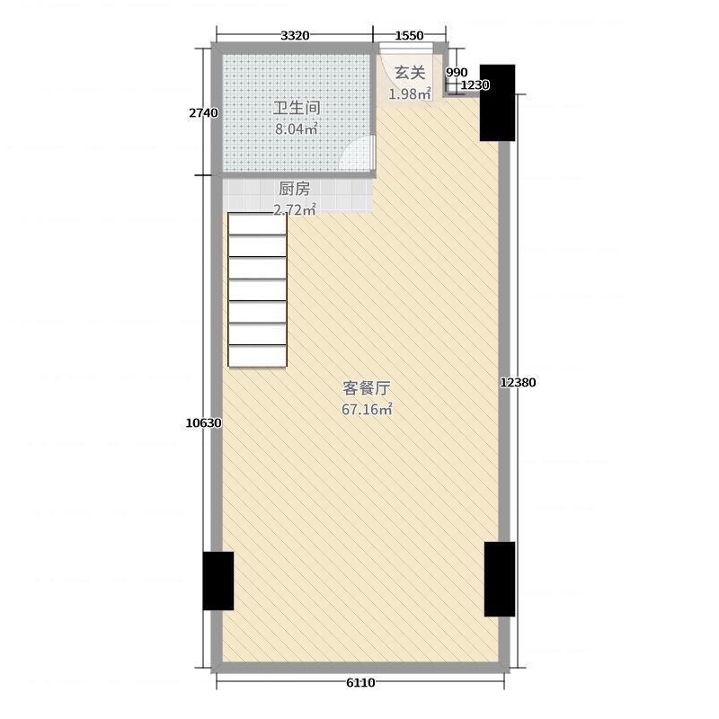 恒大�B睿94.00㎡B1首层户型1室1厅1卫1厨