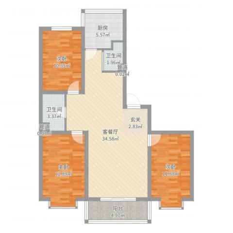 鑫丰华凯鑫城3室2厅2卫1厨107.00㎡户型图