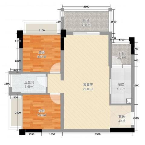 正德天水湖2室2厅1卫1厨78.00㎡户型图