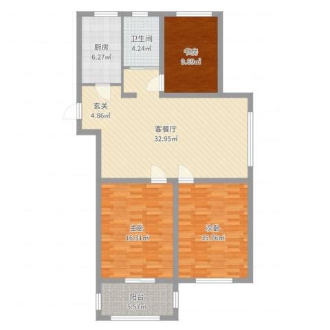 新河湾3室2厅1卫1厨113.00㎡户型图