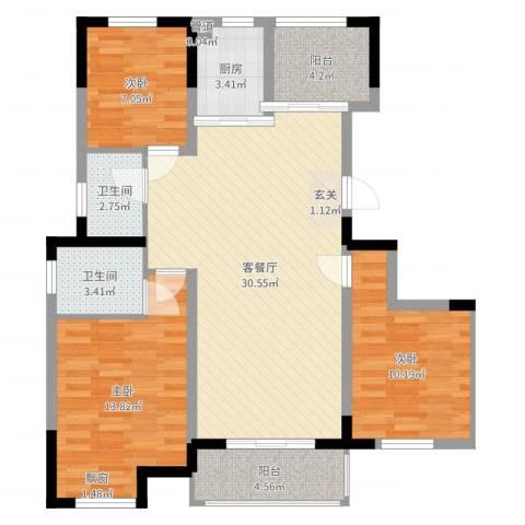 东渡海韵艺墅香颂湾3室2厅2卫1厨100.00㎡户型图