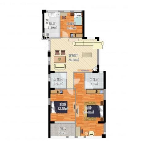 温岭市东湖怡景园3室2厅2卫1厨115.00㎡户型图