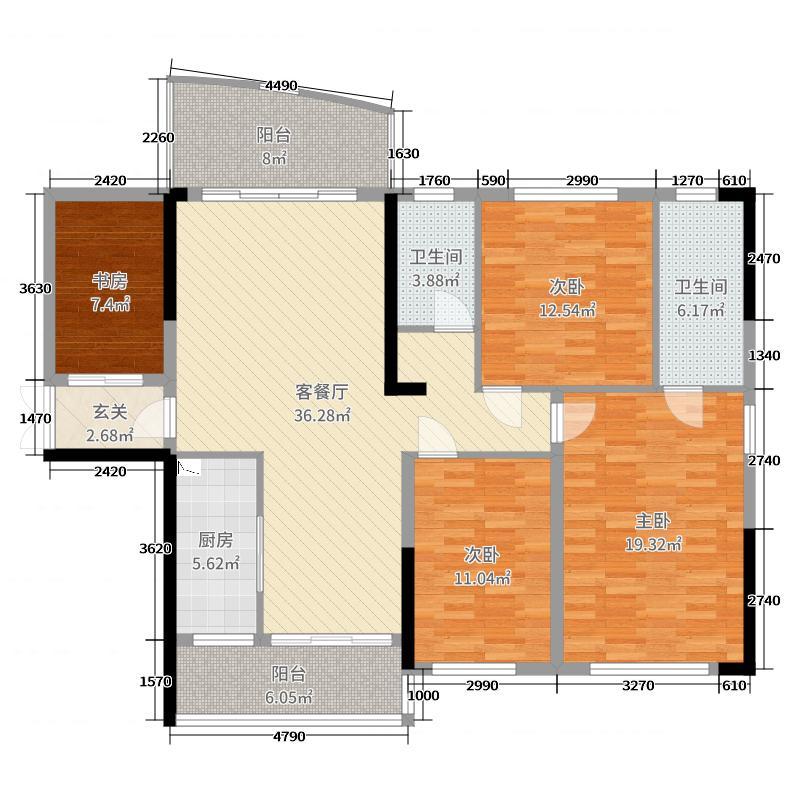 汇金时代广场133.76㎡B户型3室3厅2卫1厨