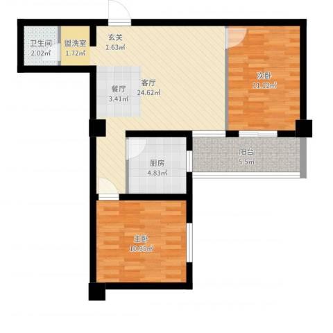 昆明湖畔2室1厅1卫1厨74.00㎡户型图
