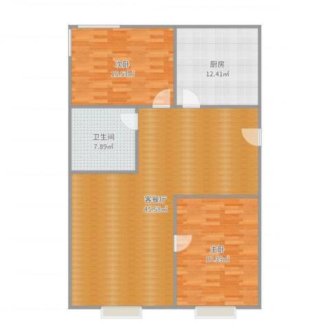 中建·玲珑山2室2厅1卫1厨123.00㎡户型图