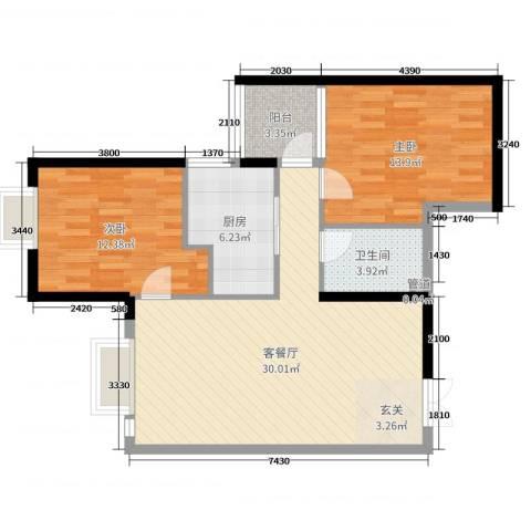 西雅图2室2厅1卫1厨100.00㎡户型图