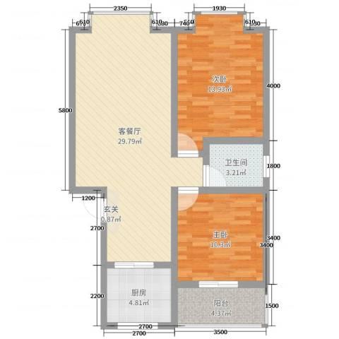 钧一嘉园2室2厅1卫1厨80.00㎡户型图