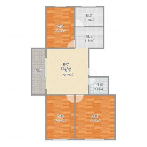 富力城3室1厅1卫1厨104.00㎡户型图