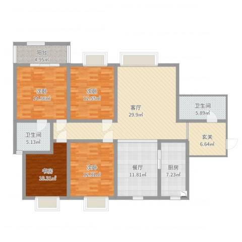 方圆小区4室2厅2卫1厨152.00㎡户型图