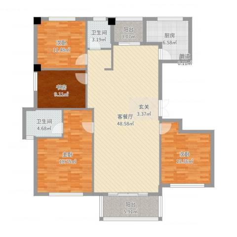 金港花园4室2厅2卫1厨156.00㎡户型图