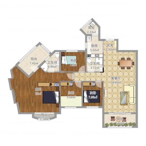 建华花园4室2厅2卫1厨156.00㎡户型图