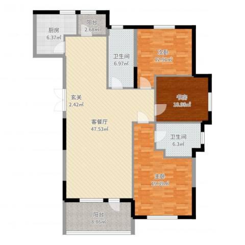 水榭花都3室2厅2卫1厨152.00㎡户型图