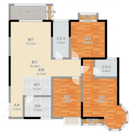 龙记帝景湾3室1厅2卫1厨134.00㎡户型图