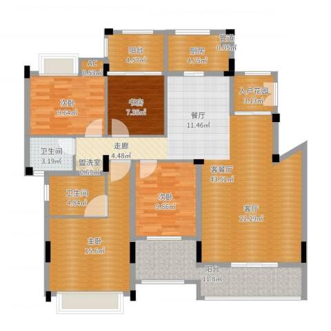 金地三千府4室2厅2卫1厨149.00㎡户型图