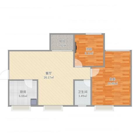 粤海国际花园2室1厅1卫1厨80.00㎡户型图