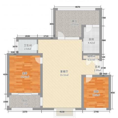 御林华府2室2厅1卫1厨92.00㎡户型图