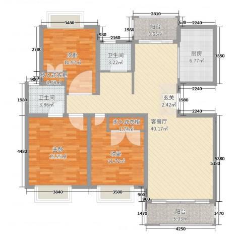 御林华府3室2厅2卫1厨129.00㎡户型图