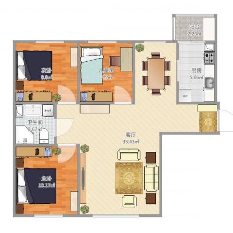 康城3室1厅1卫1厨70.90㎡户型图
