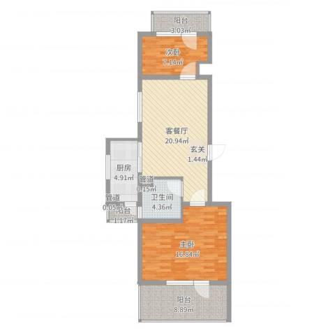 美多商务花园2室2厅1卫1厨84.00㎡户型图