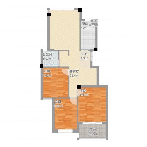 江南一品3室2厅1卫1厨101.00㎡户型图