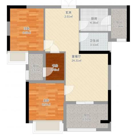 融耀江滨御景3室2厅1卫1厨84.00㎡户型图