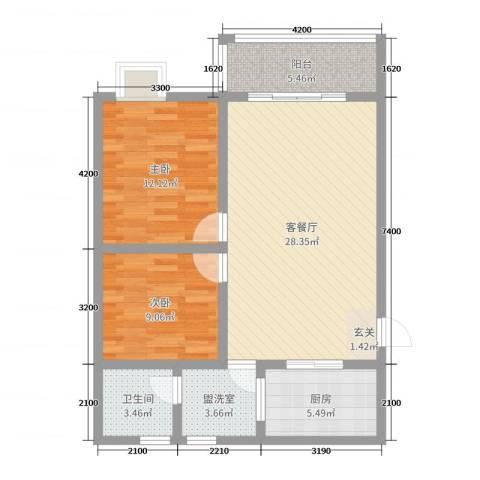 钧一嘉园2室2厅1卫1厨81.00㎡户型图