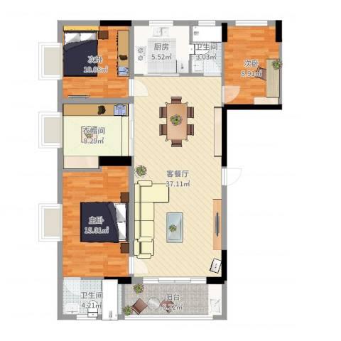 幸福花园3室2厅3卫1厨123.00㎡户型图