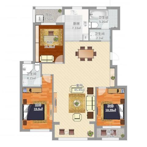 天沁家园3室1厅3卫1厨131.00㎡户型图
