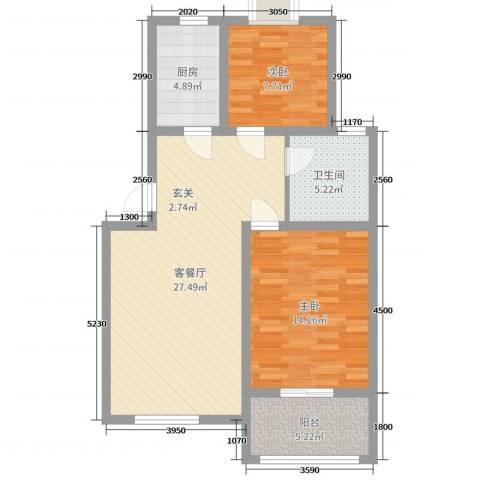 锦绣江南花园2室2厅1卫1厨82.00㎡户型图