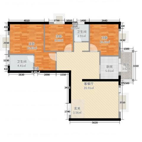 西雅图3室2厅2卫1厨126.00㎡户型图