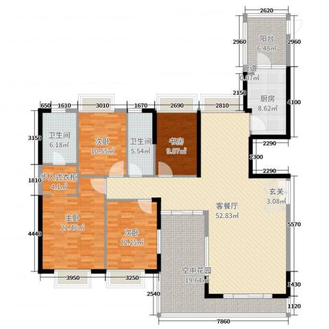 蓝山锦湾三期4室2厅2卫1厨185.00㎡户型图