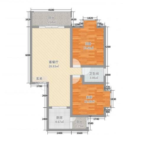 钧一嘉园2室2厅1卫1厨83.00㎡户型图