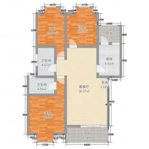 钧一嘉园3室2厅2卫1厨107.00㎡户型图