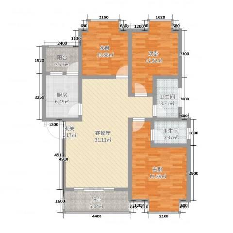 钧一嘉园3室2厅2卫1厨109.00㎡户型图