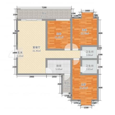 钧一嘉园3室2厅2卫1厨111.00㎡户型图