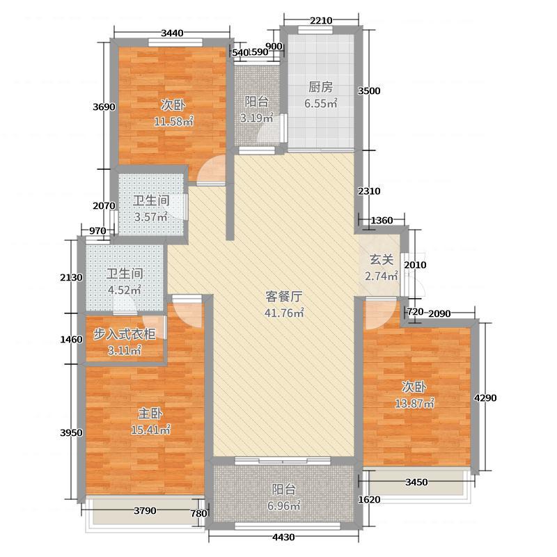 绿地峰云汇138.00㎡C4户型3室3厅2卫1厨