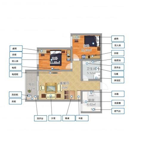 汉都故里90.82室2厅1卫1厨80.00㎡户型图