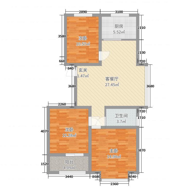 香格美地98.28㎡1号楼A户型3室3厅1卫1厨
