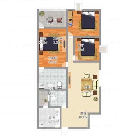 天雅居3室1厅2卫1厨100.00㎡户型图