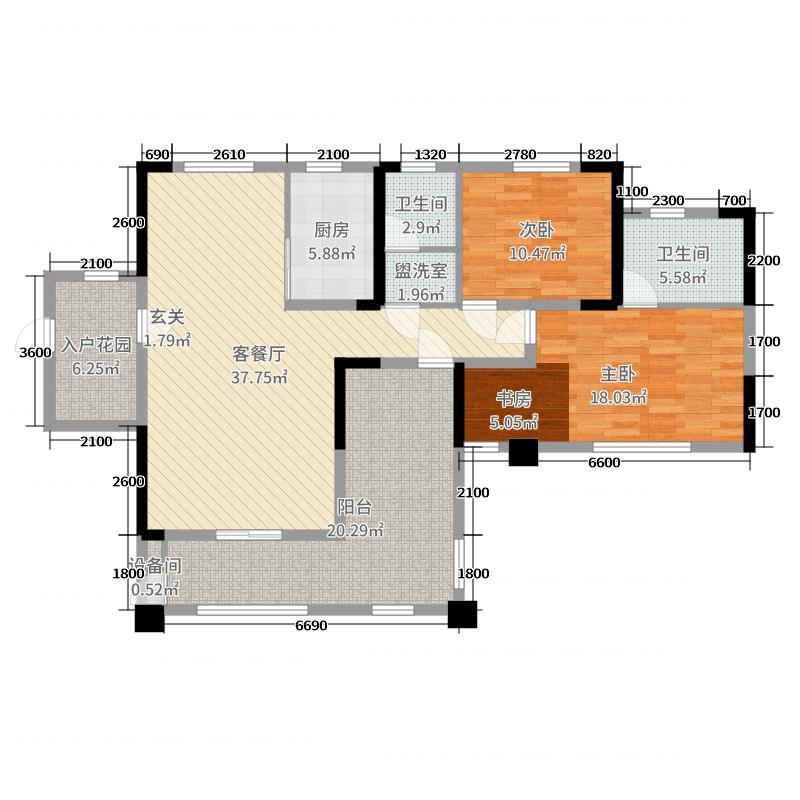 金色夏威夷119.28㎡7、10栋B5户型3室3厅2卫1厨
