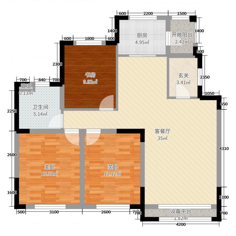 汇银东第117.00㎡三期户型3室3厅1卫