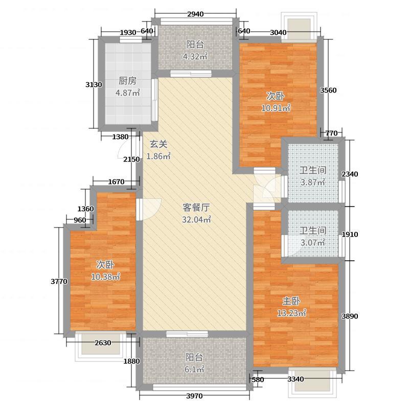 锦绣・紫荆城111.01㎡49#户型3室3厅2卫1厨