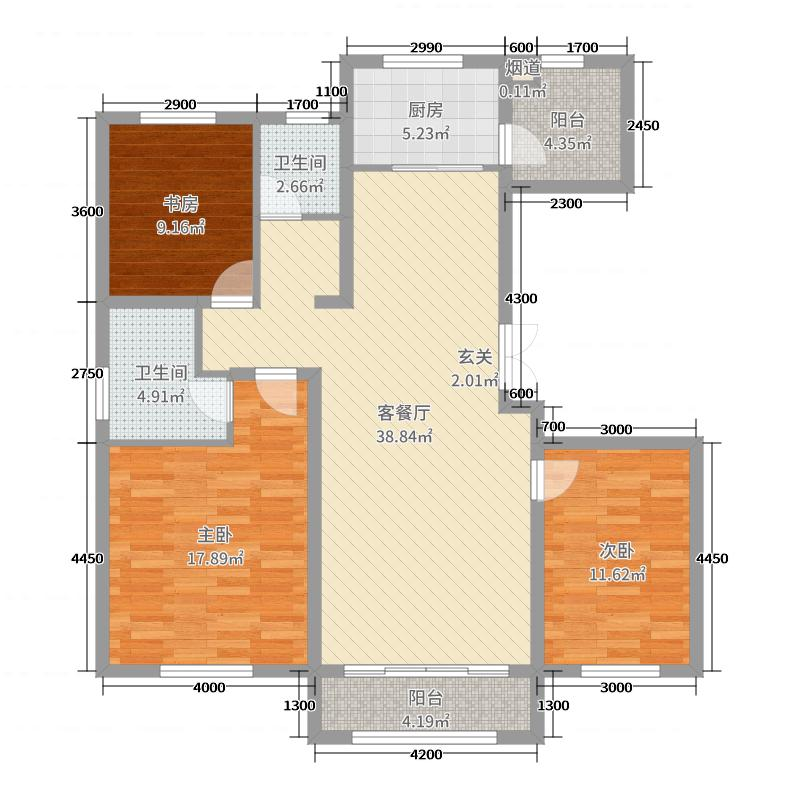 建发枫林湾140.00㎡F户型3室3厅2卫1厨