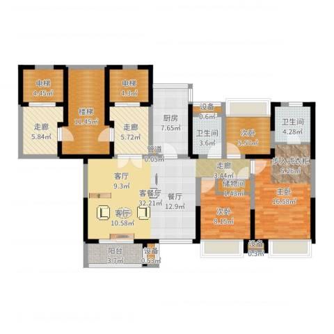 日月光伯爵天地3室2厅2卫1厨146.00㎡户型图